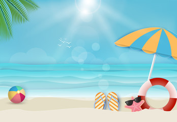 Summer holiday beach background, nautical concept. Paper art, paper craft style illustration