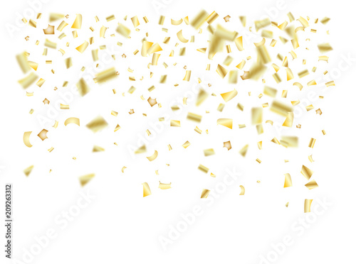 gold silver foil confetti falling down elegant christmas birthday party new year