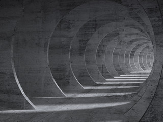 Concrete tunnel interior with perspective effect Wall mural