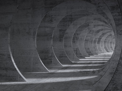 Concrete tunnel interior with perspective effect