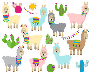 Cute Vector Collection of Llamas, Vicunas and Alpacas