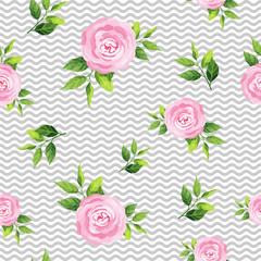 Rose flowers seamless pattern. Vector illustration.