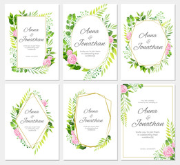 Wedding invitation set. Green leaves, rose flowers and geometric frame template. Floral background. Vector illustration.