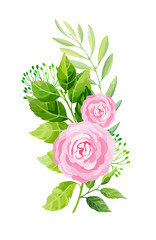 Rose flowers and leaves composition. Vector illustration.