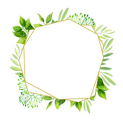 Green leaves frame template. Floral background. Vector illustration.