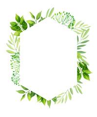 Green leaves frame template. Floral background. Vector illustration.