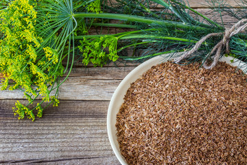 Seeds of dill on a plate