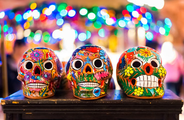 Three Ceramic Sugar Skulls