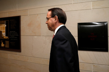 Deputy Attorney General Rosenstein arrives for a classified briefing on Capitol Hill in Washington