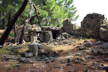 Kemer, Turkey, May 2017. Ruins of the ancient city of Phaselis. Ancient sea harbor.