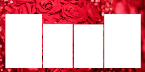 Set of photo frame with tape, on red backgrounds. Panoramic album. 30-60 sizes.