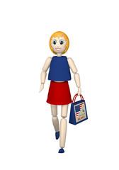 3d Mädchen mit Einkaufstasche mit Sale und us-Flagge. 3d render