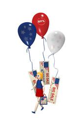 3d Mädchen mit Einkaufstasche und großen Luftballons mit Sale-Etiketten. 3d render