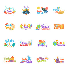 Kids logo vector set. Logo collection of kids club, land, playground, zone, hobby, arts. Colorful promo signs and creative idea for children's playing space. Vector icons and symbols set of child logo