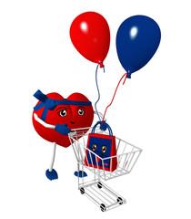 3d Character in Herzform mit Einkaufswagen, Luftballons und Einkaufstüte mit lustigem Gesicht. 3d render