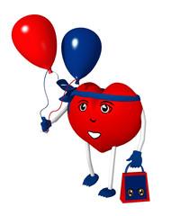 3d Character in Herzform mit Luftballons und Einkaufstüte. 3d render