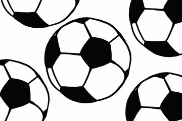 Soccer ball hand drawn simple illustration, black ball pattern on white isolated. Football world cup icon sketch or drawing in doodles style. Sport art icon illustration. Soccer tournament