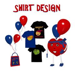 Banner für Shirt Design mit 3d Character in Herzform und roten und blauen Luftballons. Illustration