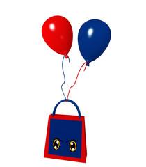 Einkaufstasche mit frechen Augen und roten und blauen Luftballons. 3d render