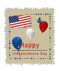 Karte zum amerikanischen Unabhängigkeitstag am 4. Juli. Illustration