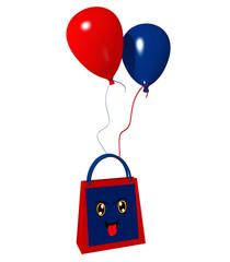 Einkaufstasche mit lustigem Gesicht und roten und blauen Luftballons. 3d render