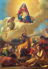 PARMA, ITALY - APRIL 16, 2018: The painting San Rocco at healing dby Francesco Scaramuzza (1831) in church Chiesa di San Rocco.