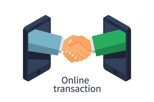 Online transaction concept. Handshake business icon. Partnership, meeting businessman. Vector illustration flat design 3d isometric. Isolated on white background.