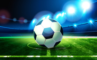 Soccer ball and Football Arena. Night background football field stadium and fans 2018 soccer championship.