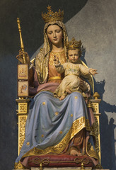 PARMA, ITALY - APRIL 17, 2018: The carved polychrome statue of Madonna of Scapular with the child in church Chiesa di Santa Teresa.