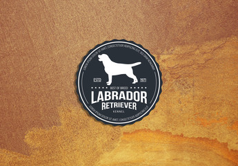 Dark Blue-Gray and White Logo Layout with Dog Illustration