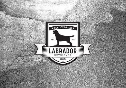 Dark Blue-Gray and White Logo Layout with Dog Illustration