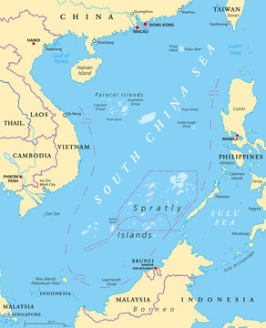 South China Sea Islands, political map. Islands, atolls, cays, shoals, reefs and sandbars. Partially claimed by China and other neighboring states. Paracel and Spratly Islands. Illustration. Vector.