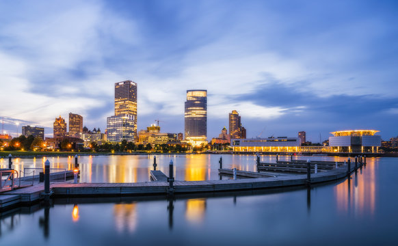 beautiful milwaukee  at night with reflection in water ,wisconsin,usa.