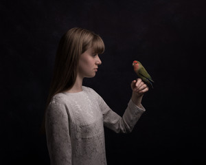 Girl with lovebird