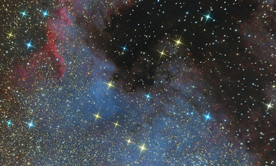 emission nebula of North America in the constellation Swan and is a region of ionized hydrogen. Photo of the nebula and the star field through the telescope system Newton
