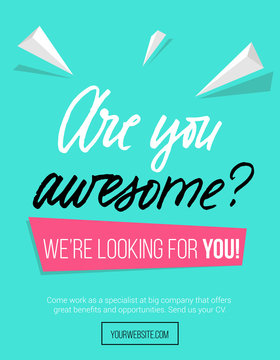 """Hiring poster design concept with pink and blue colors and lettering inscription """"are you awesome"""" Business hiring and recruiting template. Vector illustration."""