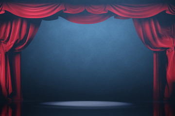Theater curtains and stage with volume light and smoke.