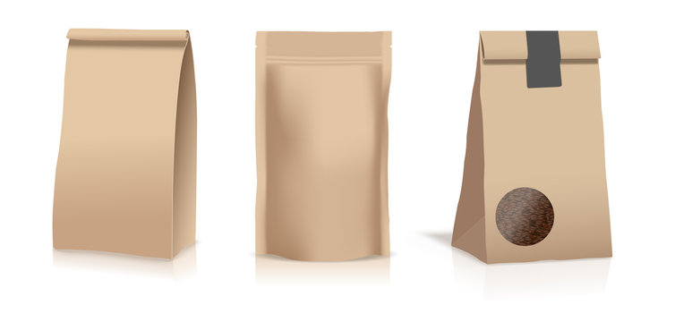 Food paper pouch bags isolated on white background. Vector illustration. Front view.