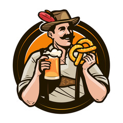 Oktoberfest, beer festival. Happy man in national costume holds a glass of ale and pretzel in hands. Cartoon vector illustration