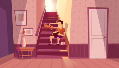 Vector cozy concept with man reading book, relaxing cat in interior with staircase and white door in house. Home inside with light from window and cartoon character on steps.