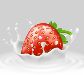 Vector 3d realistic ripe strawberry in splashing milk. Sweet food with spatter, drops in white liquid on gray background. Natural summer fruit. Mock up, template for package design or ad poster