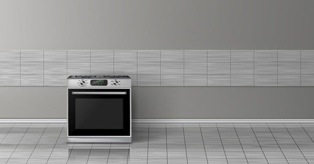 Vector 3d realistic mock up with modern silver steel stove isolated on gray tile wall. Smart appliance with display in kitchen, background for design. Decorative template with oven.
