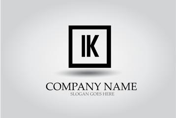 Letter K Square Icon Design Element Template