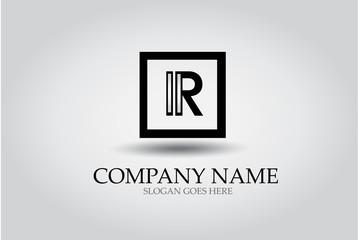 Letter R Square Icon Design Element Template