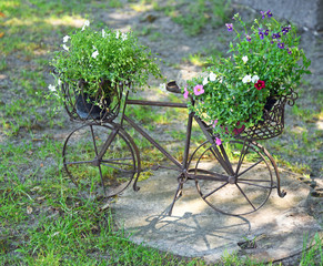 decorative miniature bike with flowers