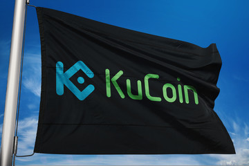 Kucoin cryptocurrency icon on realistic flag 3d render.