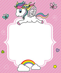 cute unicorn card. Frame with space for text