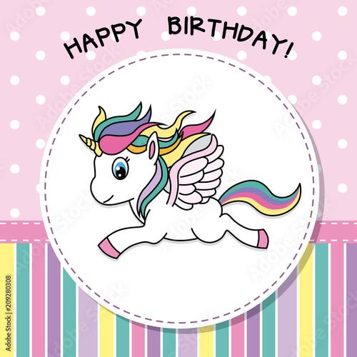 Happy Birthday Pretty Unicorn Card