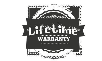 lifetime black warranty icon stamp
