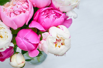 Bouquet of pink and white peony. Flowers background. Top view, copy space.